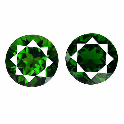4.650Cts Romantic Round Cut Chrome Green Natural Diopside 2Pcs Loose Gemstones