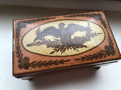 Antique Toleware Metal Painted Box  On Paw Feet