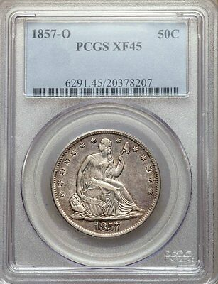 1857-O Pcgs Xf45 Seated Liberty Half Dollar   Great Overall Condition