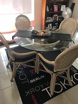 Cane Dinning Table And Chairs With Matching Counter Chairs