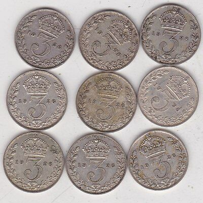 Nine Key Date 1926 Silver Threepences In Good Fine Or Better Condition
