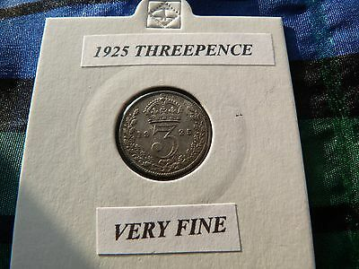 VERY FINE? 1925 THREEPENCE  (Silver .500)  George V