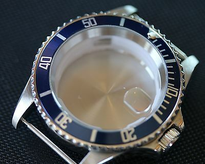 NEW Stainless steel watch case polished generic submariner cases blue bezel eta