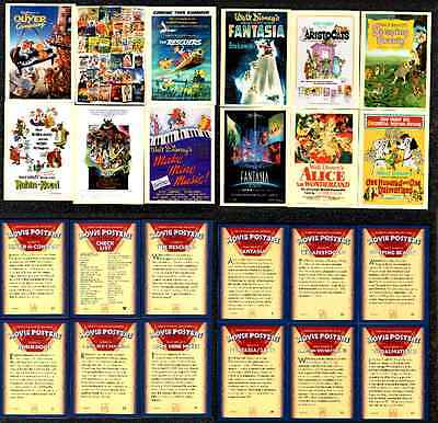 WALT DISNEY  Trading Cards FEATURING  Animated Movie Posters x 12 (circ 2000)