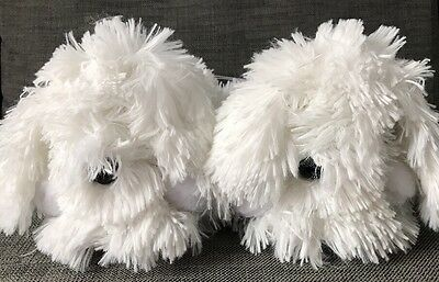 New Look Size Medium White Fluffy Dog Slippers