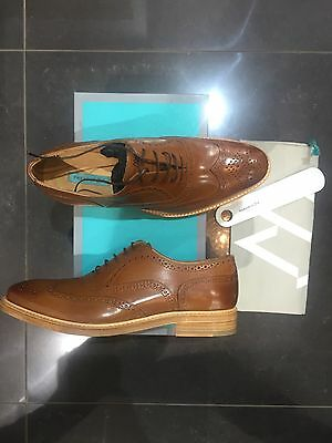 Men's Traditional Leather Wingtip Brogues In Tan Size UK8