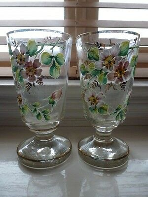 Pair Of Glass Vases With Applind Flowers