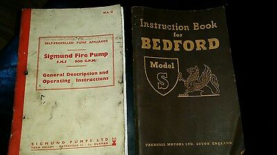 Bedford Model S instruction book and Sigmund pump booklet green goddess RLHZ