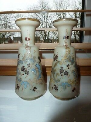 Pair Of Small Opaline Glass Vases With Applind Flowers