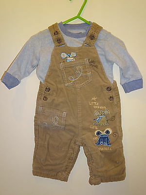 Next - Cute Baby Boys Little Mouse Cord Dungarees & Top Set 3-6 Months Outfit