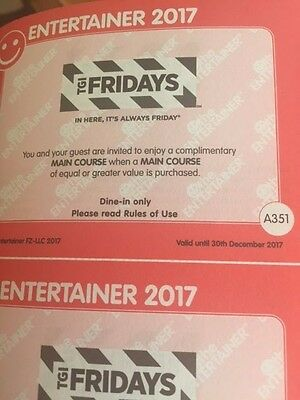 TGI FRIDAYS Entertainer Dubai 2017 **MAIN COURSE**BOGOF VOUCHER
