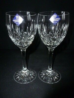 Two Edinburgh Crystal - Tay Pattern - Tall Wine Glasses With Lables