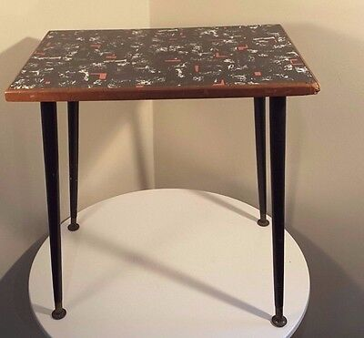 Retro Side / Coffee Table With Melamine Patterned Top