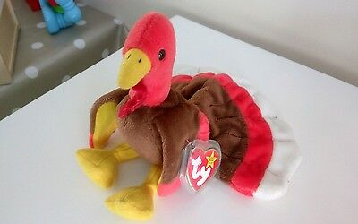 gobbles turkey ty beanie babies - rare mismatched tag dates