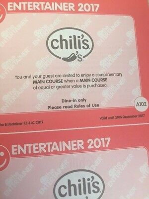 Entertainer Dubai 2017 Vouchers - Chilis