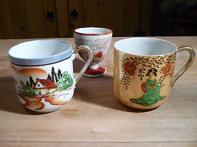 Vintage Oriental Cups & Egg Cup ~ Fairylite ~ Hand Painted Delicate China