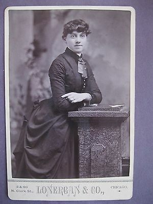 Vintage Cabinet Card Photo Victorian Woman by Lonergan & Co. Chicago, IL.