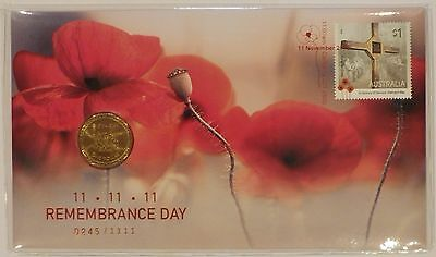 2016 Remembrance Day ballot PNC cover with 100 Years $1 ANZAC coin UNC