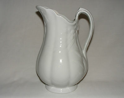 """Antique Victorian 11"""" Tall English White Ironstone Pottery Pitcher Jug 1880"""