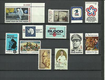 MNH never hinged mint stamps from USA, 1970s