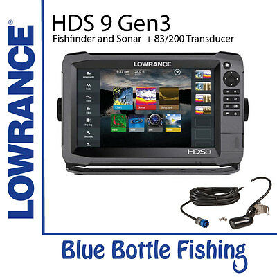 Lowrance HDS-9 Gen3 with Mid/High and StructureScan 3D Transducer + Navionics...