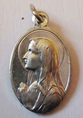 Vintage French Lourdes Holy Medal Virgin Mary & Apparition Scene