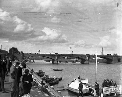 PHOTOGRAPHIC GLASS STEREO NEGATIVE EDWARDIAN LONDON THE THAMES c1904 SUPERB!