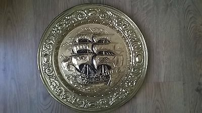 Large Vintage Antique Brass Wall Charger - Tall Ship Sailing