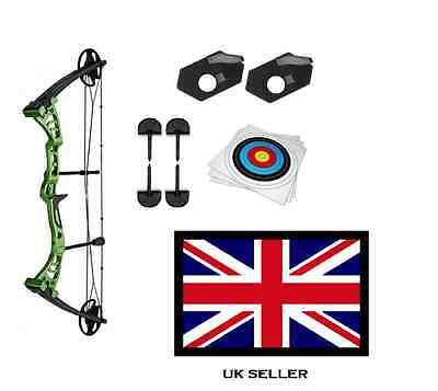 GREEN DRAGON ADULT COMPOUND ARCHERY BOW 30-55lbs & 5 X 40CM TARGETS & ACCS