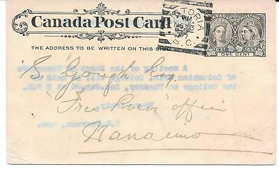 1897 Victoria, B.C. Square Circle Cancel on 1c Jubilee PSC to Nanaimo, B.C.