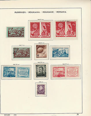 ROMANIA 1948-50,pages from Old Schaubek Album(2 scans)Fine Used/ Mtd MINT
