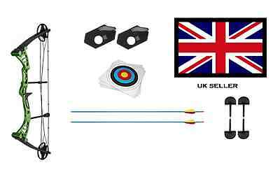 GREEN DRAGON ADULT COMPOUND ARCHERY BOW 30-55lbs + 2 ARROWS & 10 X 40CM TARGETS