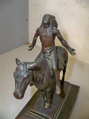 Antique Bronze Statue Of Indian On Horse