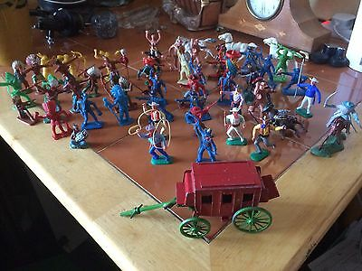 Vintage Crescent, Kellogg's, Timpo & Hilco Toy Figures. Stagecoach & 5 Horses.