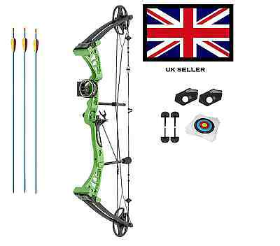 GREEN DRAGON ADULT COMPOUND ARCHERY BOW KIT 30-55lbs  WITH ACCS 3 ARR+ 5 TARGET