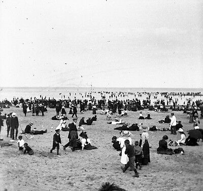 Photographic Glass Stereo Negative Cleethorpes Beach 1900 Edwardian Lincolnshire