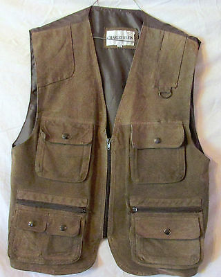 Vintage Charles Klein Leather Bird  Hunting Vest Back Pouch Size M  Sharp