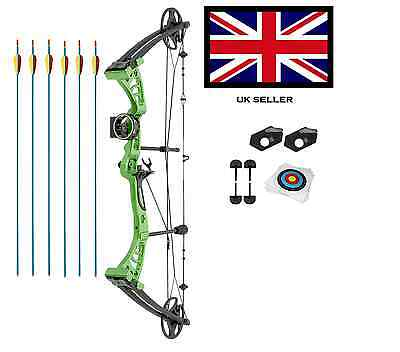 GREEN DRAGON ADULT COMPOUND ARCHERY BOW KIT 30-55lbs  WITH ACCS 6 ARR+ 10 TARGET