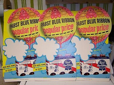 3 RARE VTG 1960s  PABST BLUE RIBBON BEER CARDBOARD SIGN STORE DISPLAY NEAR MINT