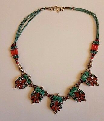 Nepalese tibetan silver 5 pendant fashionable turquoise and coral necklace