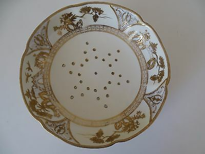 Ornate Noritake gold & cream drainer dish & stand 8 inches diameter 1930s