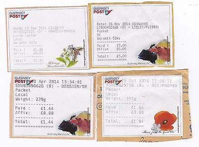 Guernsey Postage Labels x 4. All different Post Offices