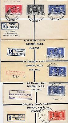 5 X 1937 Coronation Registered Covers All To London