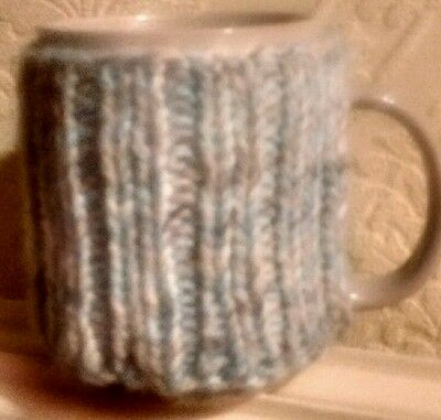 Pull on Mug Cosy in Blue and Grey
