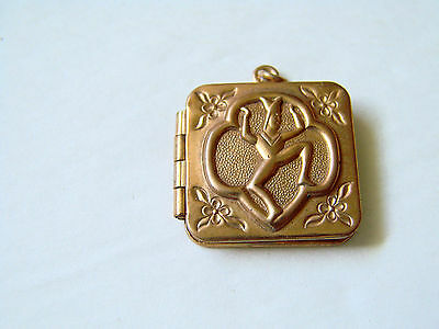 VINTAGE 1940'S GIRL SCOUT BROWNIE LOCKET NECKLACE PENDANT Rose Gold