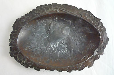 Antique Japanese Ukiyo-e Raised Relief Metal Clamshell Dish Birds Cranes REPAIR