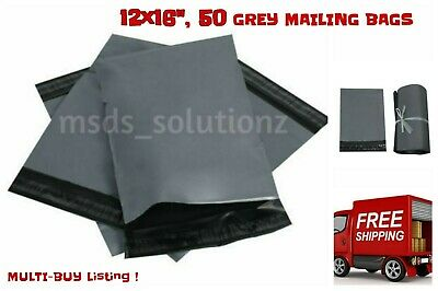 """50 Grey 12""""x16"""" Large Self Seal Mailing Bags Polythene Postage Poly Packing"""