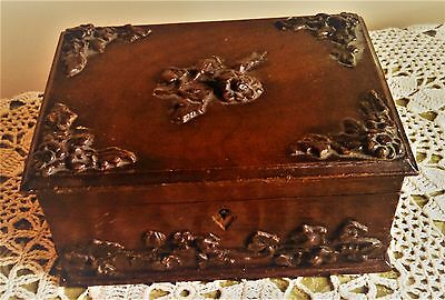 Ornate Antique Wood Box with Carved Flowers & Leaves