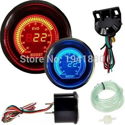 "2"" 52mm turbo boost vacuum car digital LED meter gauge tint lens blue red"