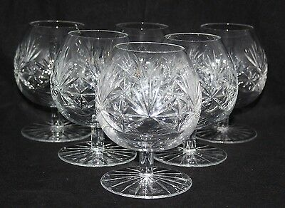A Set of 6 Vintage Large Cut Glass/Crystal Brandy Glasses/Balloons - vgc